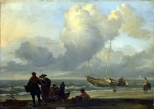 212/backhuysen, ludolf - a beach scene with fishermen